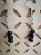 Boucle d'oreille en perle naturelle golstone bleue