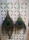 Boucle d'oreille en aventurine verte et plume de paon