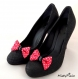 Clips chaussure noeud rose fuchsia et pois rockabilly