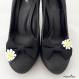 Clips chaussure noeud noir et fleur en dentelle