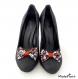 Clips chaussure noeud noir imprimé fleuri