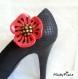Clip à chaussures coquelicot rouge et noir.