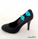 Clips chaussure noeud turquoise et pois vert anis.
