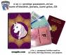 Protège passeport - porte cartes licorne 012