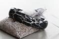 Bracelet résine craquelé gris anthracite/argent