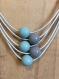Collier cuir 5 fils taupe/vert clair