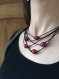 Collier cuir 5 fils rouge