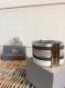 Bracelet manchette cuir 6 rangs gris/ bleu/ argenté