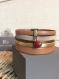 Bracelet manchette cuir 5 rangs doré/ marron nacré /rouge