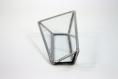 Support cartes de visite (verre transparent, soudure étain). design minimaliste pour décoration d'intérieur glamour, orientale, baroque...