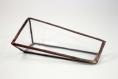 Présentoir de cartes de visite (verre transparent, soudure cuivre) design minimaliste pour décoration intérieure scandinave, bohème chic,...