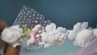 Couronne de fleurs cheveux en tissu shabby chic