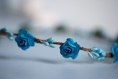 Couronne de fleurs cheveux bleue