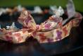 Couronne de fleurs cheveux modèle papillon décliné en saumon & orange