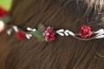 Couronne de fleurs cheveux rouge et blanche