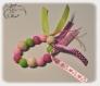 Hochet bébé, hochet dentition, montessori, perles à mordre en silicone, vertes roses et fuchsias