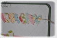 Carte d'anniversaire, scrapbooking, guirlande de coeurs