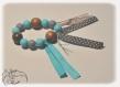 Hochet bébé, hochet dentition, montessori, perles à mordre en silicone, turquoises et grises