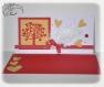 Carte d'amour, saint valentin, arbre de coeurs, plumes, ruban et boutons
