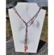 Collier sautoir en perles de verre, bleu rouge orange, modèle cléopâtre