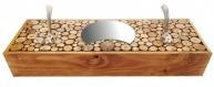Porte-manteaux mural rectangulaire en rondin de bois 2 patère triple et miroir demi lune. couleur châtaignier 60x20