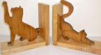 Serre livres « les chats » en frêne et chêne, bois massif des pyrénées