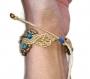 Bracelet macramé perles de jade bleu doré