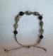 Bracelet macramé semi précieux en labradorite et jade noir