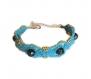 Bracelet tissé macramé  bleuen pierre naturelle de  pyrite