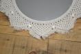 Miroir macramé blanc corde et perles diamètre 40. personnalisable sur demande