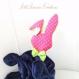 Doudou plat/peluche bebe lapin en velours minky bleu marine et rose fuchsia