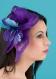 Pince mariage diamante violet vif et turquoise en sisal
