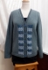 Kit tricot machine - cardigan col v bande jacquard verticale - taille m