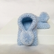Chausson bébé 0-8 mois en laine bleu pâle / pompon uni