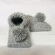 Chausson bébé 0-8 mois en laine grise / pompon uni