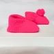 Chausson bébé 0-8 mois en laine rose vif / pompon uni
