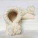 Chausson bébé 0-8 mois en 100% coton écru / pompon uni