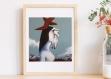 Affiche impression d'art femme cheval a4 • art print • decoration mural cheval salon • reproduction de peinture artistique • art cheval