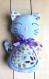 Doudou chat rêveur bleu en velours coton biologique avec son sac de rangement