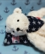 (vendu) ours miniature en coton blanc de 14 cm, réalisé à l'ancienne, articulé