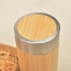 Wood thermos vacuum flask with engraved design poppy row personalized wooden coffee tea infusion bottle stainless steel with screw lid