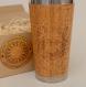 Wooden travel mug einstein custom gift full design engraved car driver desk coffee tea cup stainless steel bamboo wood