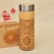 Wood thermos ethnic mandala vacuum flask original engraved bamboo wooden stainless steel with screw lid
