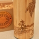 Tropical beach wooden thermos vacuum flask original custom engraved bamboo wood stainless steel with screw lid