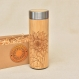 Wood thermos sunflower floral engraved vacuum flask