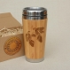 Wooden travel mug cockfight car driver's or desk coffee tea cup stainless steel with lid customized engraved bamboo wood