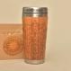 Wooden travel mug petal mandala personalized wood gift customized engraved design