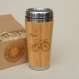 Wooden travel mug vintage paris bicycle car driver's office desk coffee to go tea stainless steel with lid customized engraved bamboo wood