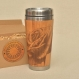 Wood travel mug rose custom engraved with name on request