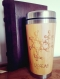 Wooden thermos vacuum flask caffeine engraved chemistry design original bamboo wood stainless steel with screw lid